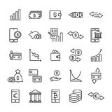 Simple collection of investments related line icons. Thin line vector set of signs for infographic, logo, app development and website design. Premium symbols Royalty Free Stock Photography