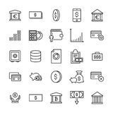 Simple collection of investments related line icons. Thin line vector set of signs for infographic, logo, app development and website design. Premium symbols Stock Images