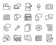 Simple collection of journalism related line icons. Thin line vector set of signs for infographic, logo, app development and website design. Premium symbols Royalty Free Stock Images