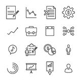 Simple collection of management related line icons. Thin line vector set of signs for infographic, logo, app development and website design. Premium symbols Stock Images