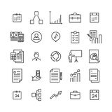 Simple collection of management related line icons. Thin line vector set of signs for infographic, logo, app development and website design. Premium symbols Royalty Free Stock Images