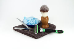 Mens Shaving Supplies. A simple collection of manly shaving and grooming supplies royalty free stock photos