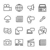 Simple collection of mass media related line icons. Thin line vector set of signs for infographic, logo, app development and website design. Premium symbols royalty free illustration