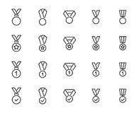 Simple collection of medal related line icons. Thin line vector set of signs for infographic, logo, app development and website design. Premium symbols Royalty Free Stock Photography