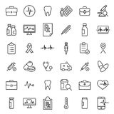 Simple collection of medical care related line icons. royalty free illustration
