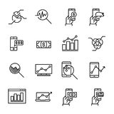 Simple collection of online money related line icons. Thin line vector set of signs for infographic, logo, app development and website design. Premium symbols Stock Photography