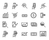 Simple collection of online money related line icons. Thin line vector set of signs for infographic, logo, app development and website design. Premium symbols Royalty Free Stock Image