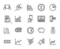 Simple collection of personal budget related line icons. Thin line vector set of signs for infographic, logo, app development and website design. Premium Royalty Free Stock Photo
