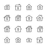 Simple collection of real estate related line icons. Stock Photos