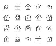 Simple collection of real estate related line icons. stock illustration
