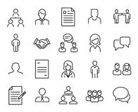 Simple collection of recruitment related line icons. Thin line vector set of signs for infographic, logo, app development and website design. Premium symbols royalty free illustration