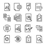 Simple collection of report related line icons. Thin line vector set of signs for infographic, logo, app development and website design. Premium symbols Stock Image