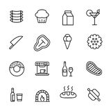Simple collection of restaurant related line icons. Royalty Free Stock Photo
