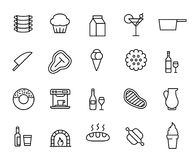 Simple collection of restaurant related line icons. Stock Photos