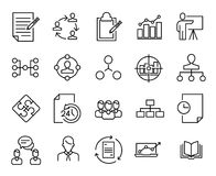 Simple collection of scrum agile related line icons. stock illustration