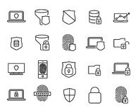 Simple collection of security computer related line icons. Thin line vector set of signs for infographic, logo, app development and website design. Premium Stock Photos