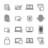 Simple collection of security computer related line icons. Thin line vector set of signs for infographic, logo, app development and website design. Premium Royalty Free Stock Image