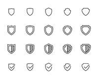 Simple collection of shield related line icons. Stock Photos
