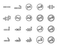 Simple collection of smoking related line icons Stock Images