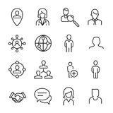 Simple collection of social media related line icons. Stock Image