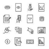 Simple collection of tax related line icons. Thin line vector set of signs for infographic, logo, app development and website design. Premium symbols isolated Stock Images
