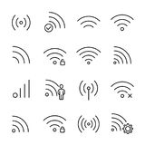 Simple collection of telecommunication related line icons. Thin line vector set of signs for infographic, logo, app development and website design. Premium Stock Image