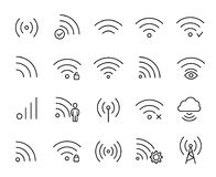 Simple collection of telecommunication related line icons. Thin line vector set of signs for infographic, logo, app development and website design. Premium Royalty Free Stock Photography