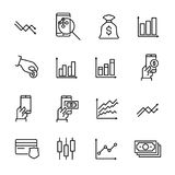 Simple collection of trading related line icons. Thin line vector set of signs for infographic, logo, app development and website design. Premium symbols Stock Images