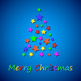 Simple color christmas tree from stars Stock Photo