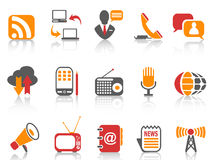 Simple color Communication icons set Stock Images