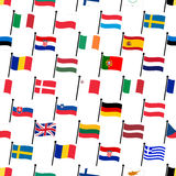 Simple color curved flags all european union countries collection seamless pattern eps10 Stock Images
