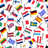 Simple color curved flags all european union countries seamless pattern eps10 Royalty Free Stock Photography
