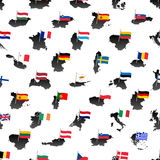 Simple color flags all european union countries on maps seamless pattern eps10 Stock Photos