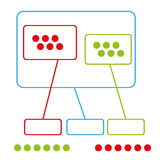 Simple color graph group with use points vector. Simple school color graph, color different points and group graph, use for school, minus, plus, equals Royalty Free Illustration