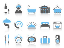 Simple color hotel icons Stock Photography