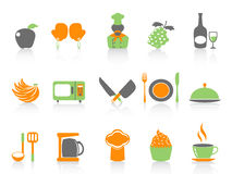 Simple color kitchen icons set Royalty Free Stock Images