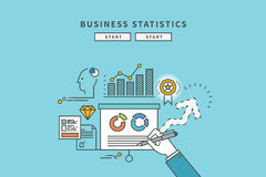 Simple color line flat design of business statistics, modern  illustration Royalty Free Stock Photos