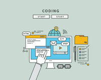 Simple color line flat design of coding, modern  illustration Stock Photography