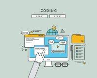 Simple color line flat design of coding, modern  illustration. ! Stock Photography