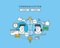Simple color line flat design of communication, modern  illustration Royalty Free Stock Photos
