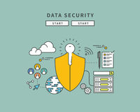 Simple color line flat design of data security, modern  illustration Stock Images