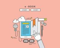 Simple color line flat design of e-book, modern  illustration Stock Photo