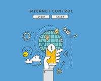 Simple color line flat design of internet control, modern  illustration Stock Photography
