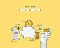 Simple color line flat design of savings, modern  illustration Stock Photo