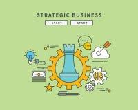 Simple color line flat design of strategic business, modern  illustration Royalty Free Stock Images
