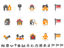Simple color real estate icon set royalty free illustration