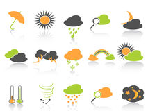 Simple color weather icons set Royalty Free Stock Photo