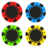 Simple Colored Casino chips Stock Photography