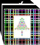 Simple, colored and elegant Christmas gift box, decorated with  tree of several colors. Stock Photo
