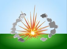 Simple colored explosion with cloudlets Stock Photos